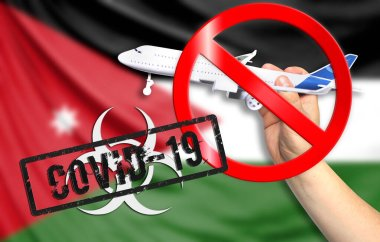 A new coronavirus disease called COVID - 19 with the flag of Jordan. Contains the concept of a ban on air travel between countries.