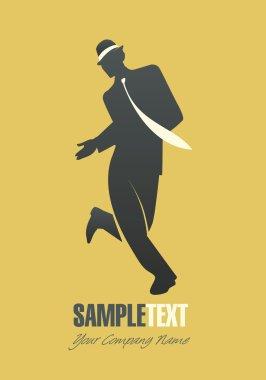 Silhouette of man dancing jazz