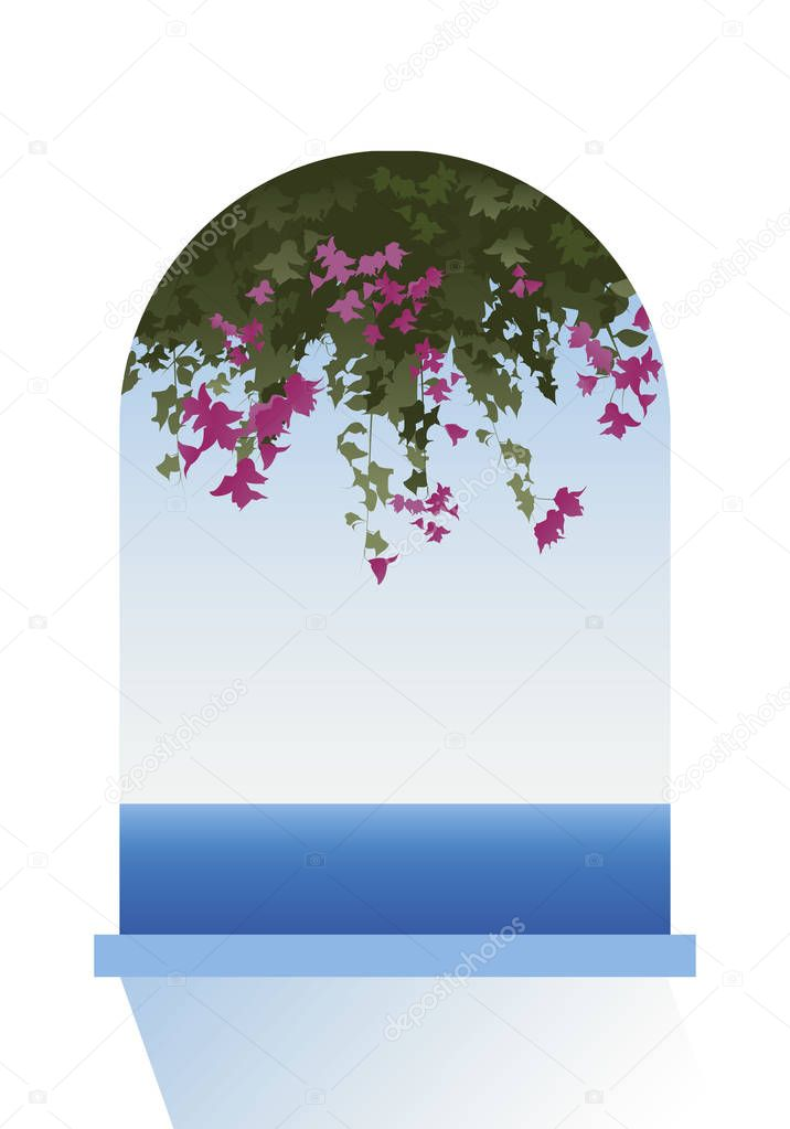 Bougainvillea flowers. Sea view through a window. Vector Illustration.