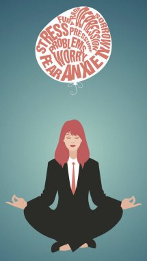 Businesswoman doing yoga. Meditation. Relaxing and letting go of the difficulties. Retro style.