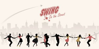 Group of young people dancing swing, lindy or rock'nroll on the street