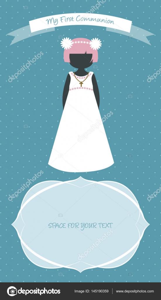 Meine Erste Kommunion Feier Mahnung Niedliche Mädchen Trägt Weiße