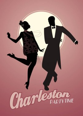 Elegant couple silhouettes wearing 20's style clothes dancing charleston.