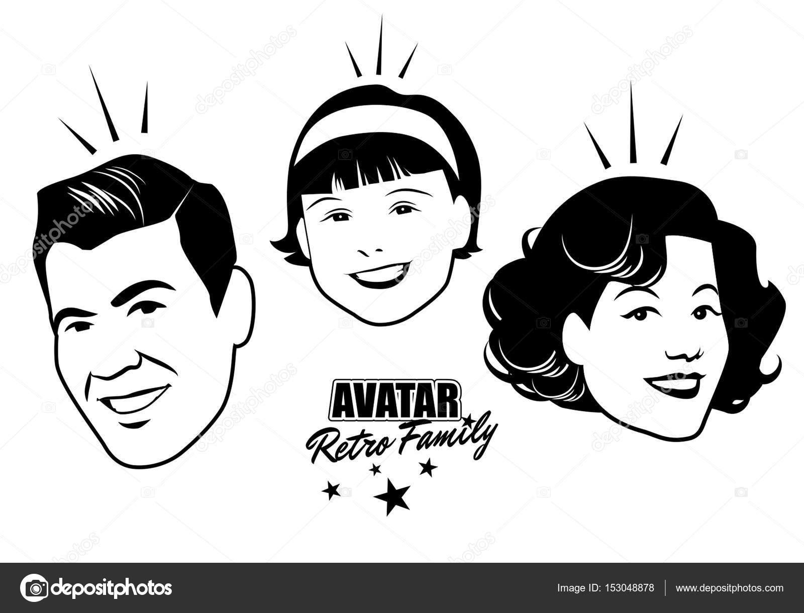 Avatar Retro Familia. Estilo Retro