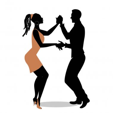 Young afro american couple silhouettes dancing salsa. Vector illustration.