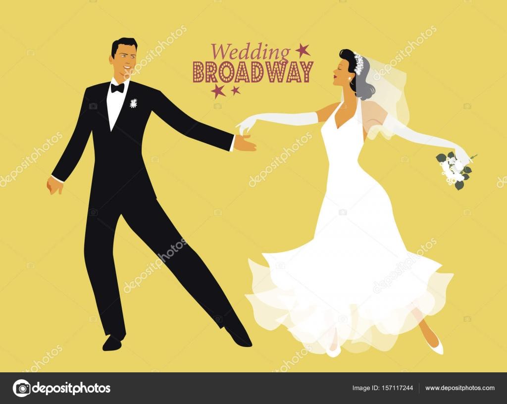 Wedding Dance Bride And Groom Dancing Broadway Style Stock Vector 157117244