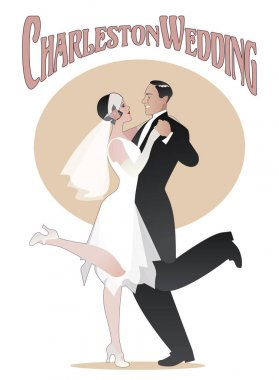 Wedding Dance. Elegant couple wearing 20s style clothes dancing