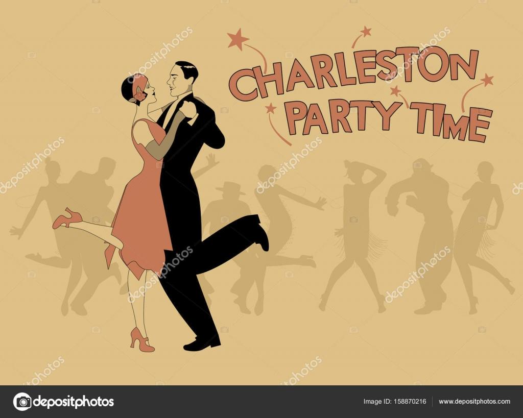 Elegante paar 20er Jahre Stil tragen Kleidung tanzen Charleston. Ve ...