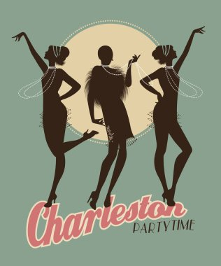 Silhouettes of three flapper girls on a Charleston party poster