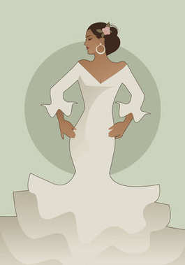 Typical Spanish woman wearing flamenco dress. Vector Illustration