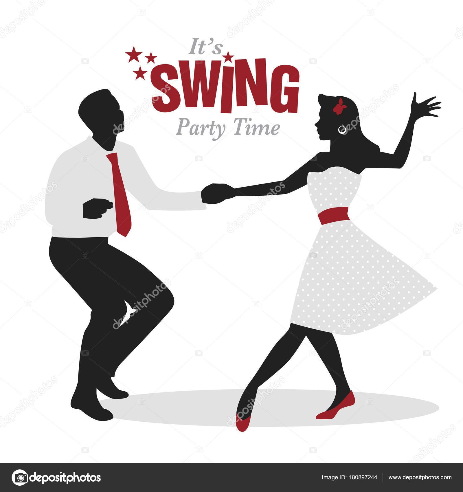 26f717ea96851 Swing Party Time   Silhouettes de jeune couple rétro de porter des vêtements  danse swing ou le lindy hop — Vecteur par LaInspiratriz