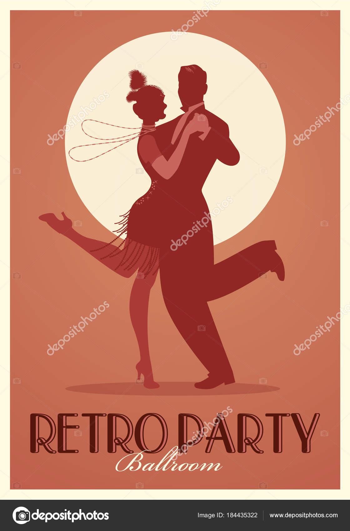 Retro-Party Poster. Silhouetten der Kleidung im Stil der 20er Jahre ...