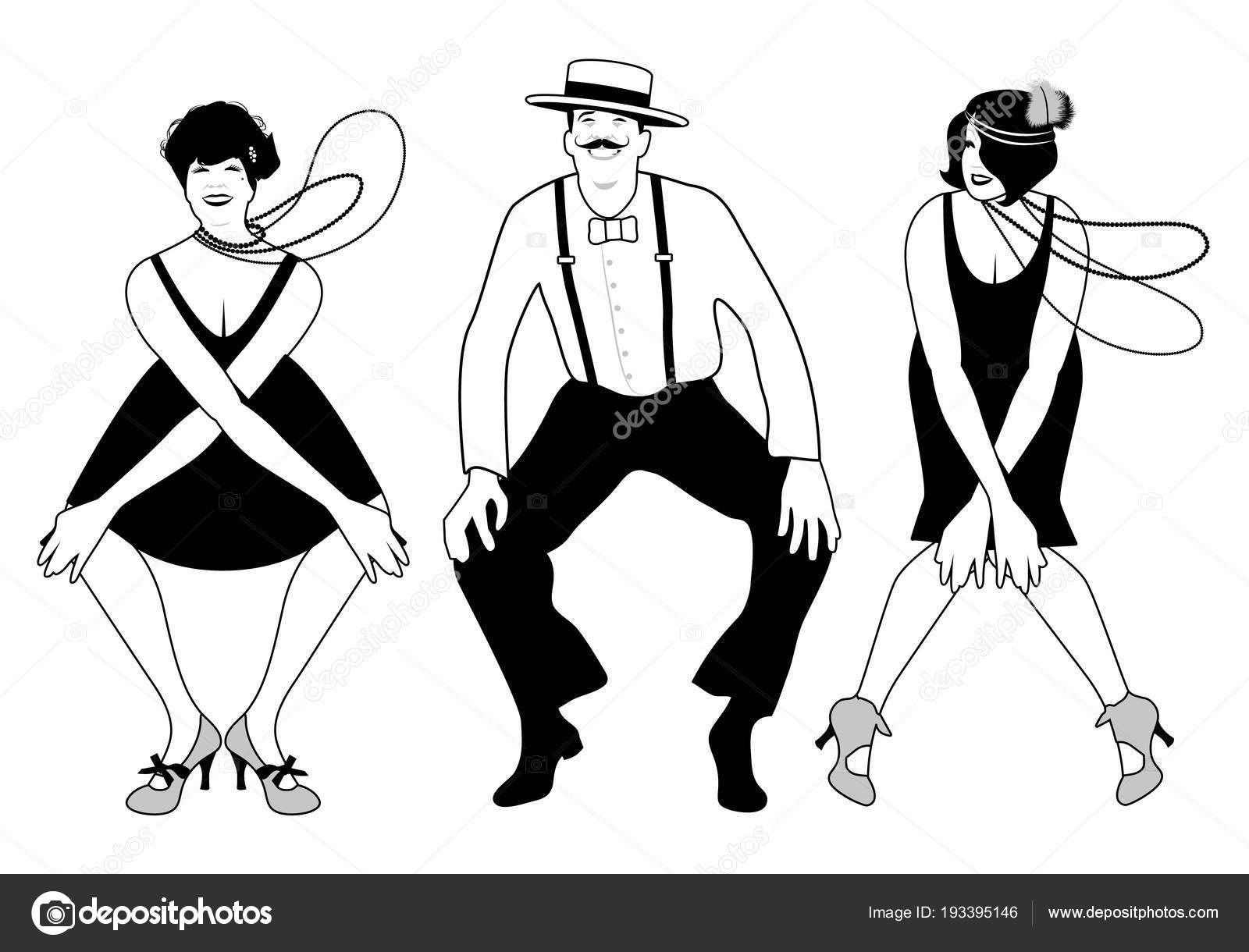 two flapper girls and one man dancing charleston vector Textile Factories in the 1920s two flapper girls and one man dancing charleston vector illustration stock vector