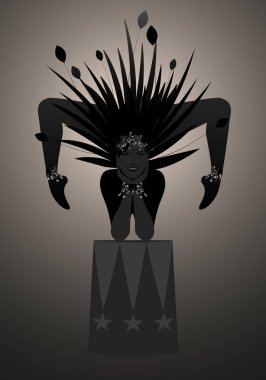 Backlist silhouette of contortionist dressed in a feather headdress, balancing on a stand