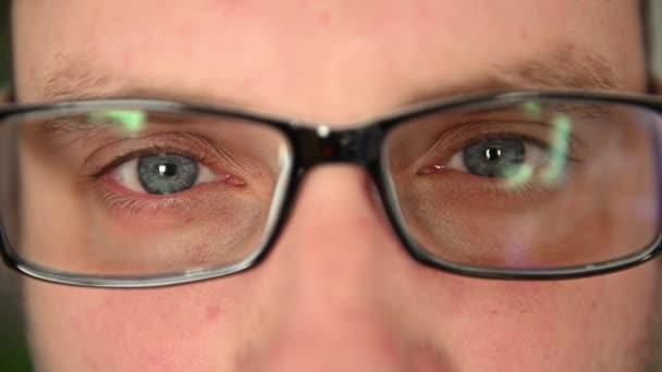 Oči muže v brýlích zblízka. Na tváři jsou emoce. Obličejové svaly