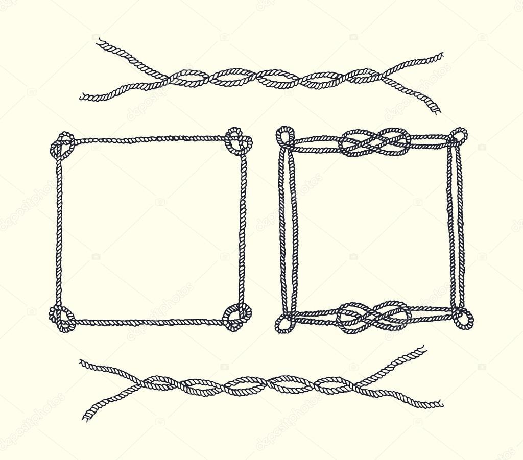 Von Hand gezeichnete Seil Rahmen und Grenzen — Stockvektor ...