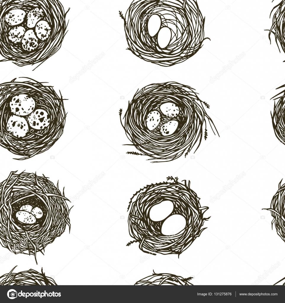 Patron para nidos dibujados a mano — Archivo Imágenes Vectoriales ...