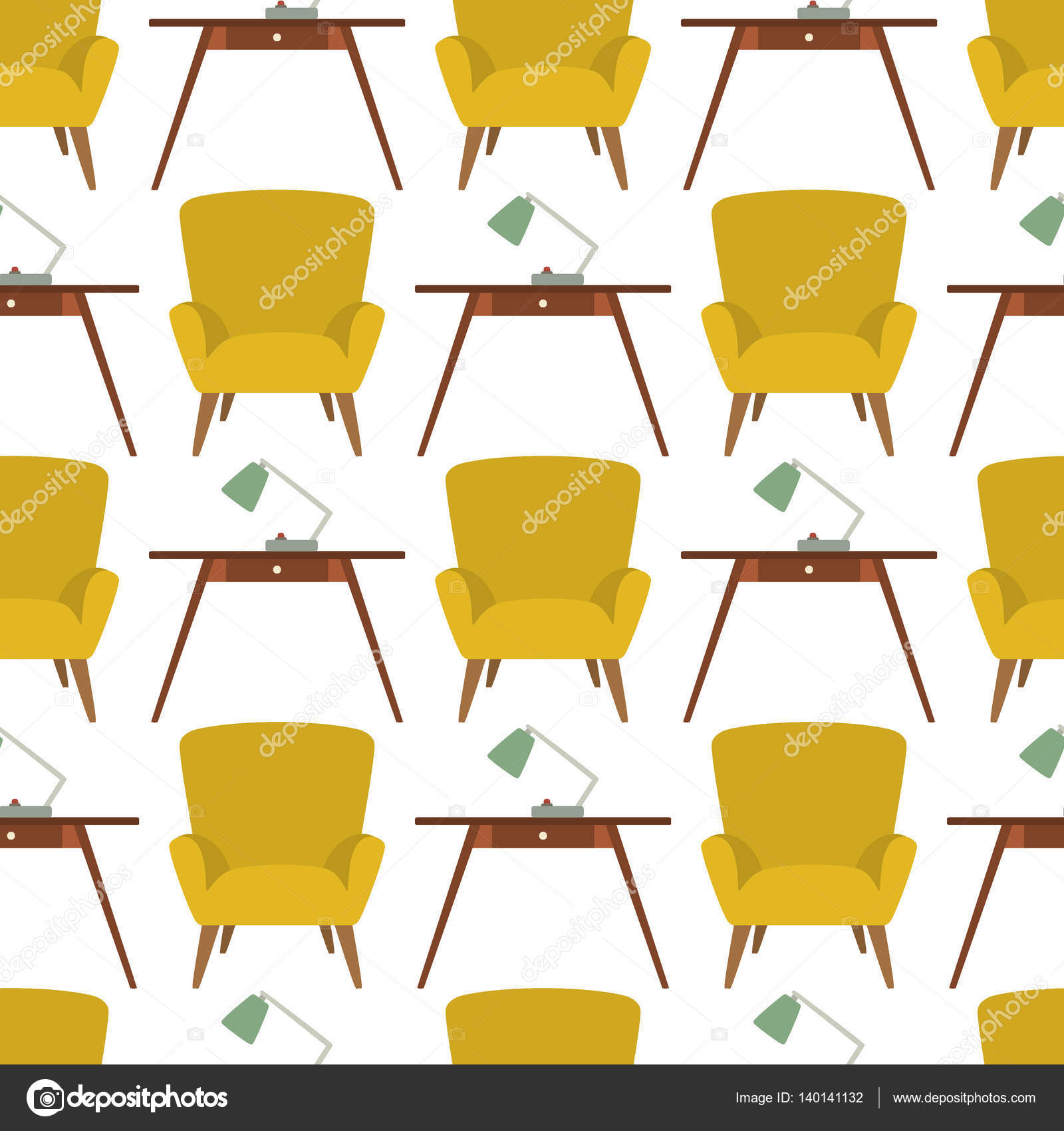 Nahtlose Vektormuster Mit Wohnzimmer Möbel In Der Mitte Des Jahrhunderts  Modernen Stil. Schöne Design Elemente, Perfekt Für Jedes Unternehmen Im ...