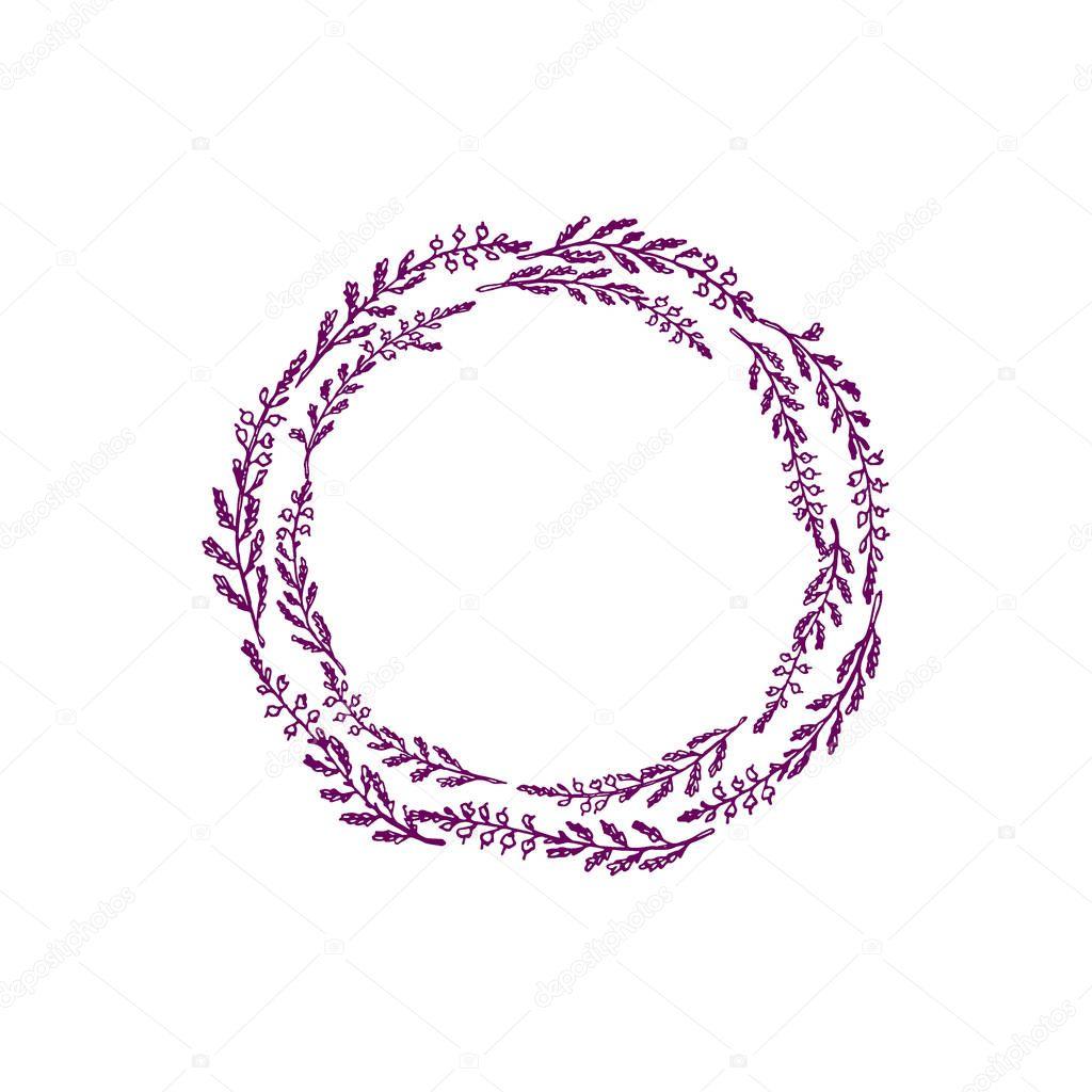 Hand drawn heather wreath