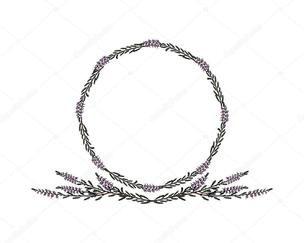 Hand drawn heather frame