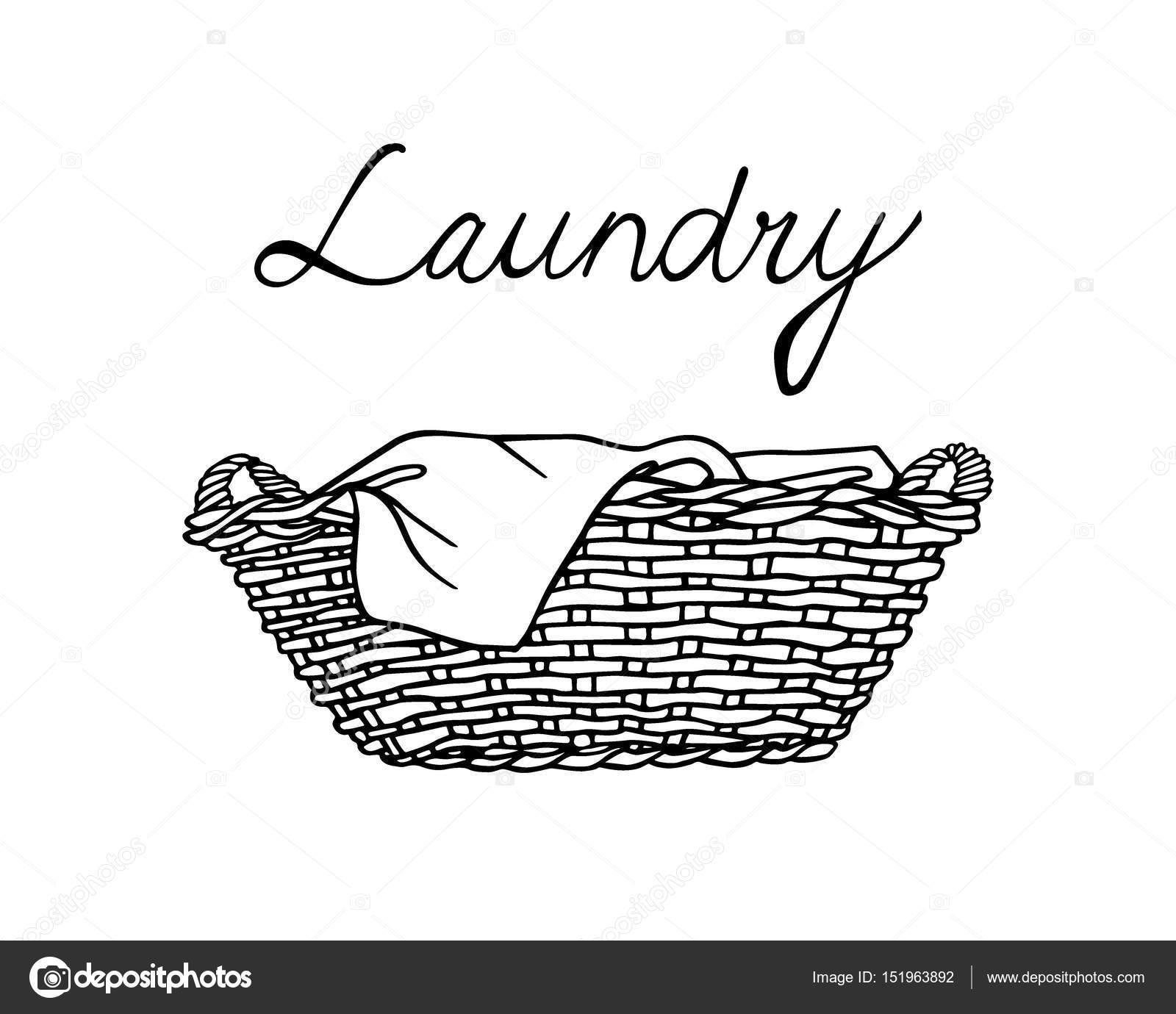 701ed83e7e Illustrazione vettoriale della mano disegnata cestino di vimini con  lavanderia. Stile grafico, disegno di inchiostro. Elementi di design per la  casa bella ...