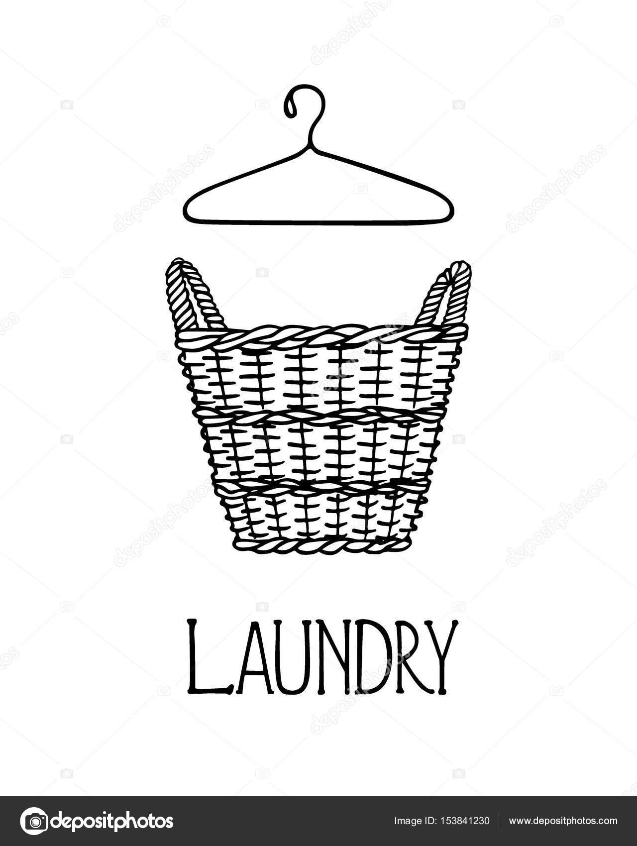 45a392cba0 Illustrazione vettoriale della mano disegnata cestino di vimini con  lavanderia. Stile grafico, disegno di inchiostro. Elementi di design per la  casa bella.