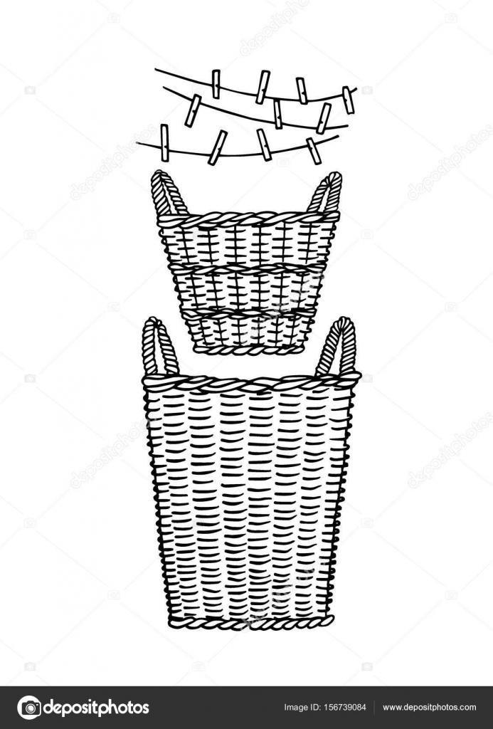 cec7d14744 Illustrazione vettoriale della mano disegnata cesti di vimini con i perni di  panno. Stile grafico, disegno di inchiostro. Elementi di design per la casa  ...