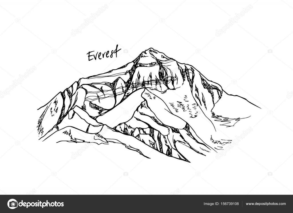 Pico de la montaña dibujada mano — Vector de stock © Ezhevica #156739108
