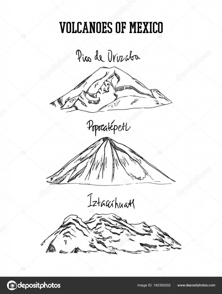 Volcanes De Dibujado A Mano Vector De Stock Ezhevica