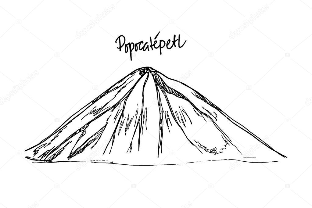 Hand drawn mountain peak