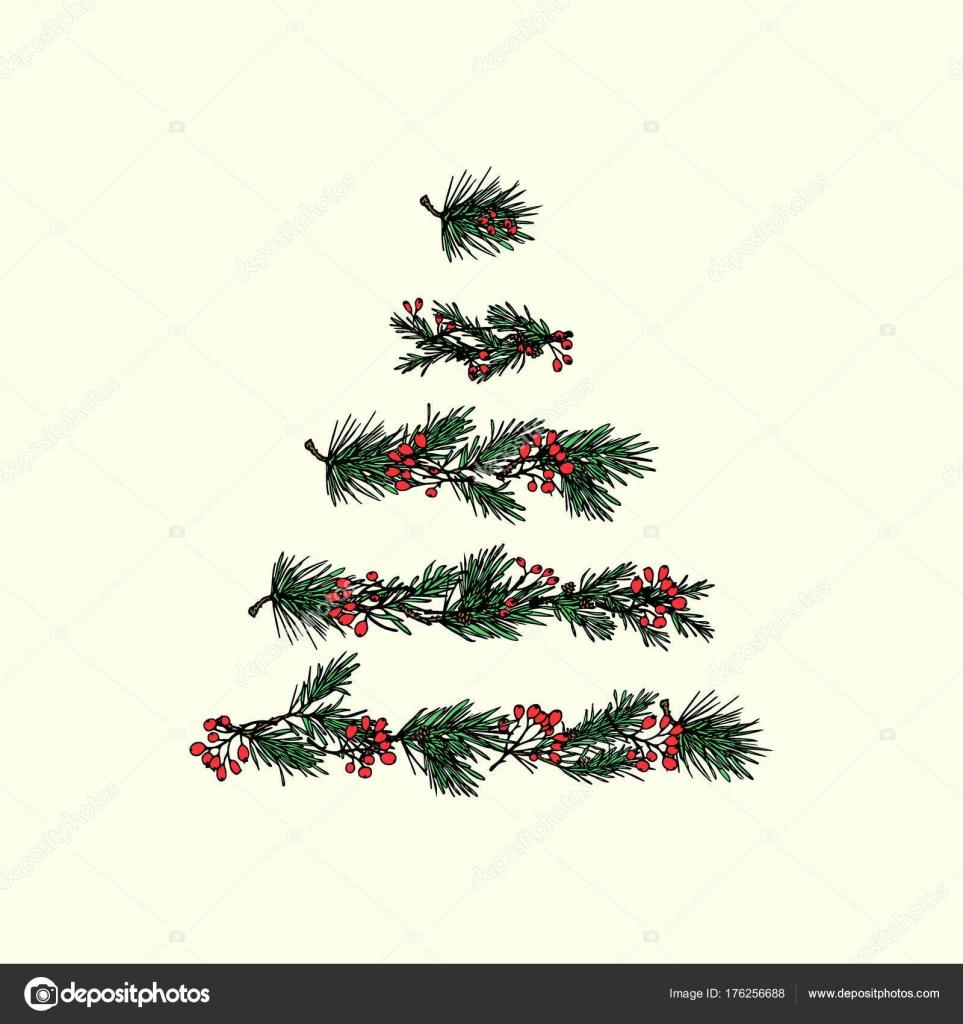 Weihnachtsbaum Gezeichnet.Hand Gezeichneten Weihnachtsbaum Stockvektor Ezhevica 176256688