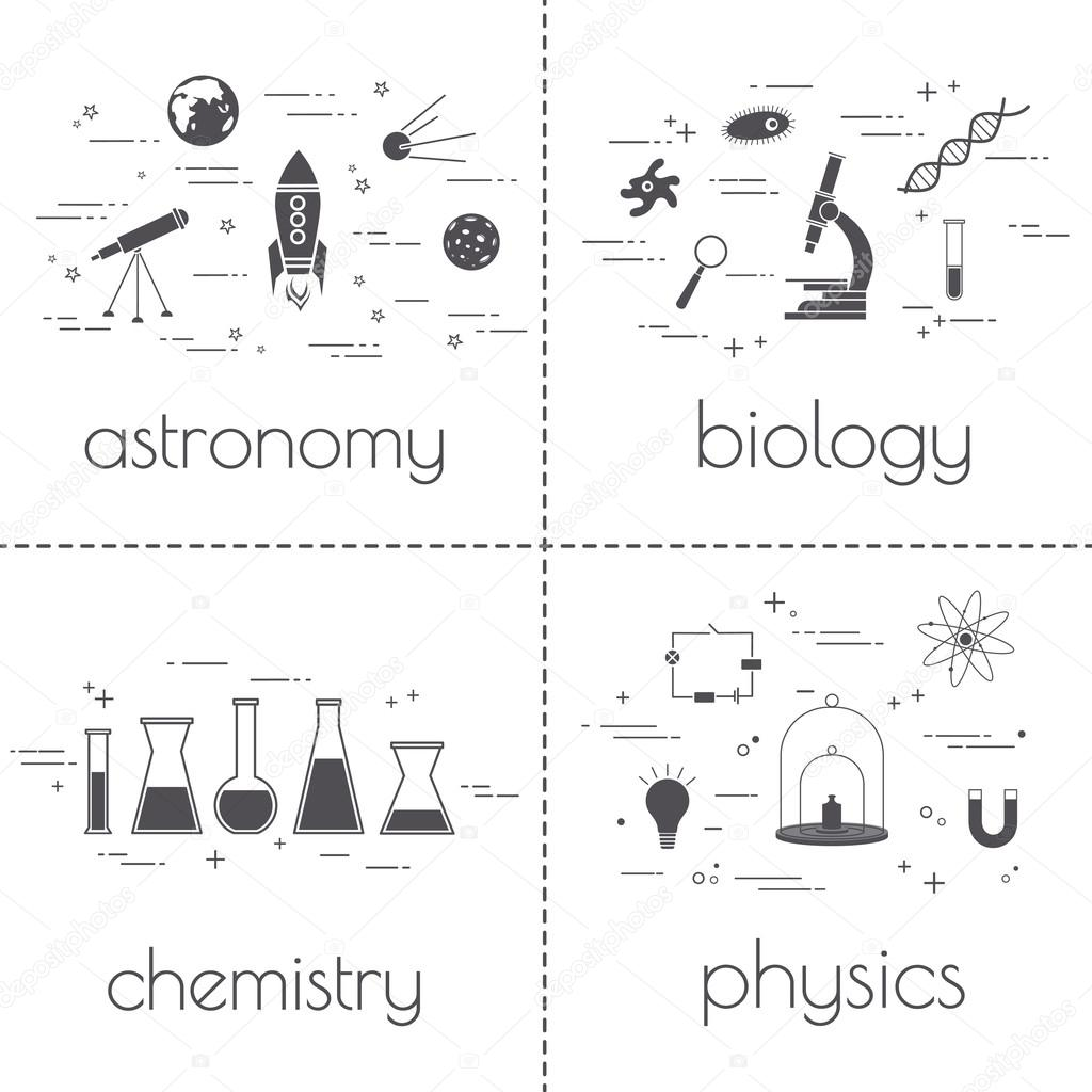 Set of line icons. Educational and science concept. Isolated on white background. School subjects.