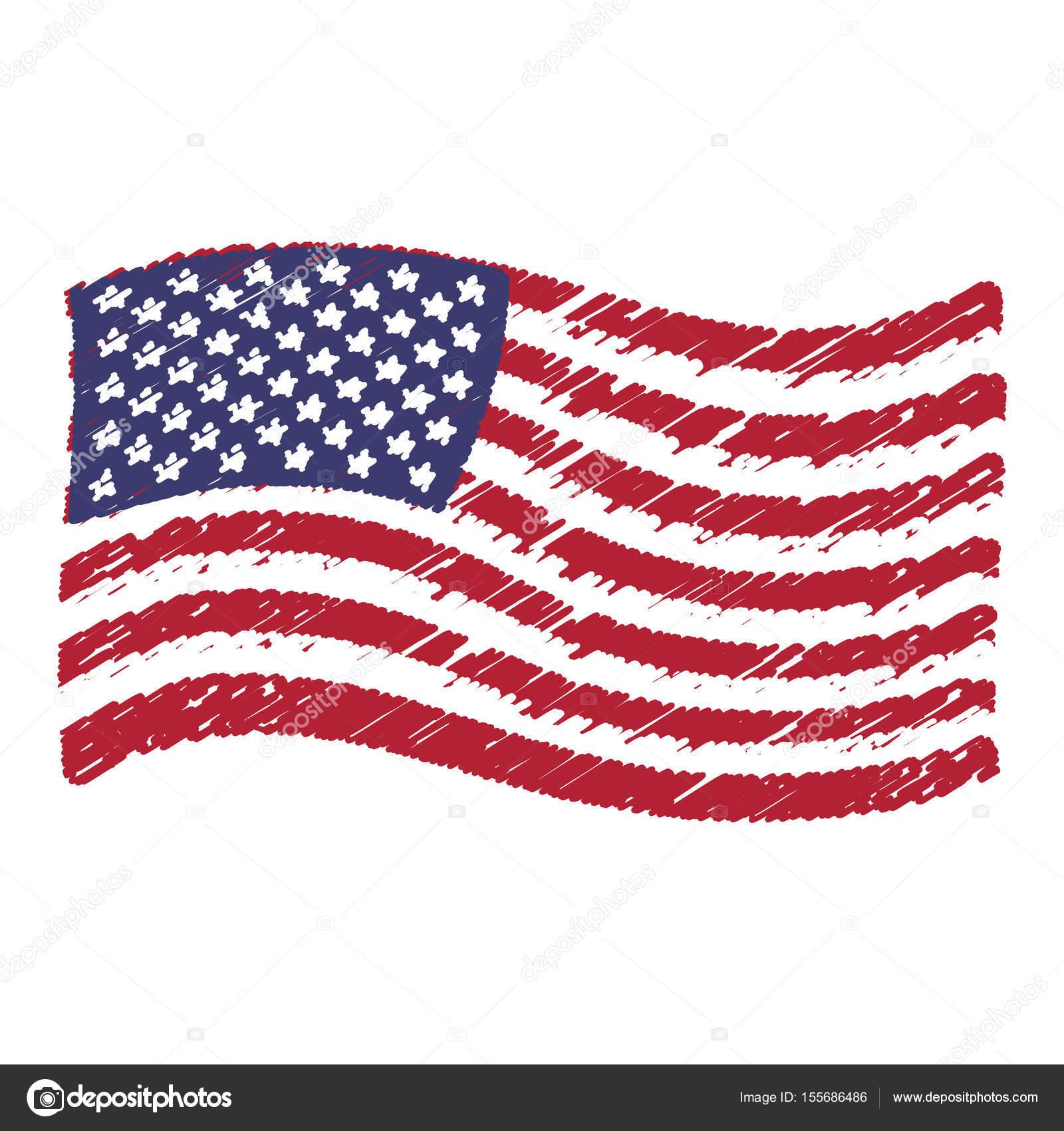 Dibujos Grunge A Lapiz Dibujo De Dibujo A Lápiz Usa Bandera