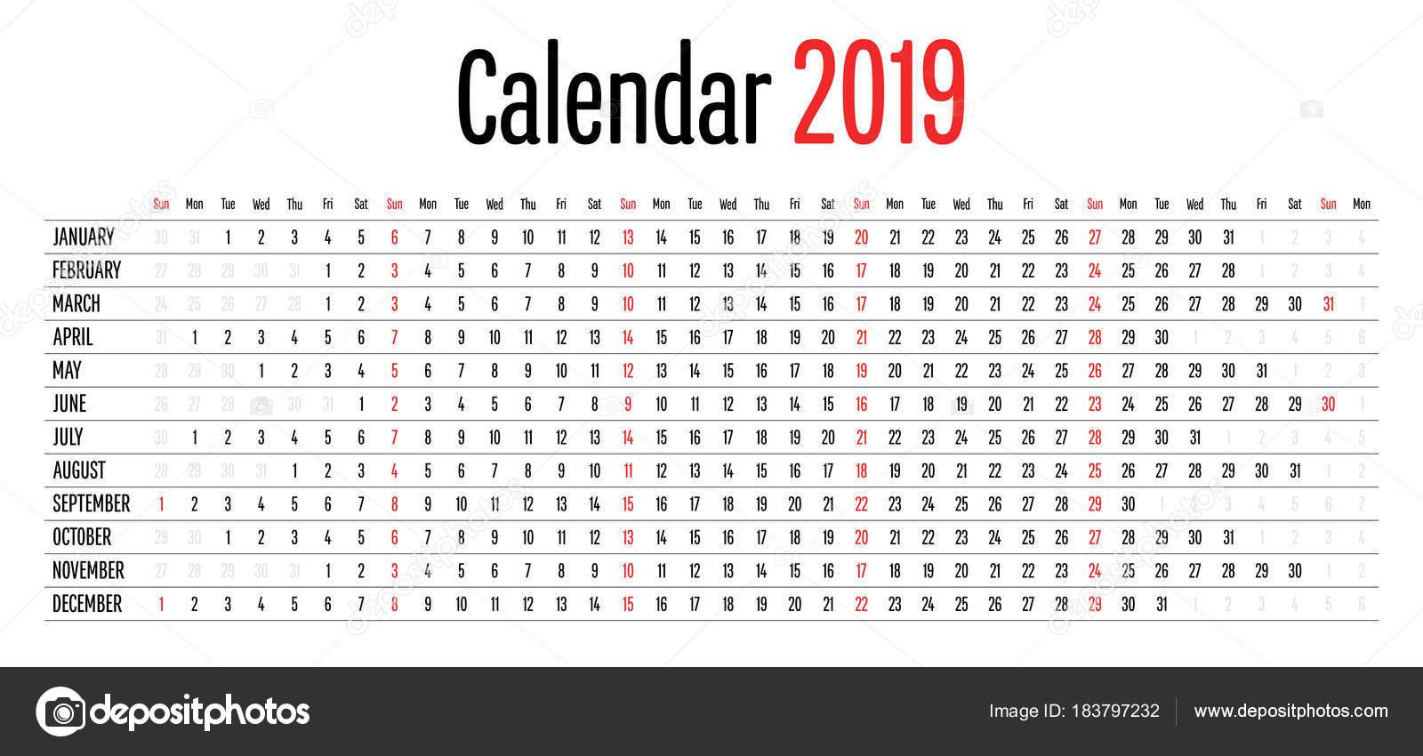 Calendario 2019 Diseño Claro Simple Plantilla Dirección Horizontal ...
