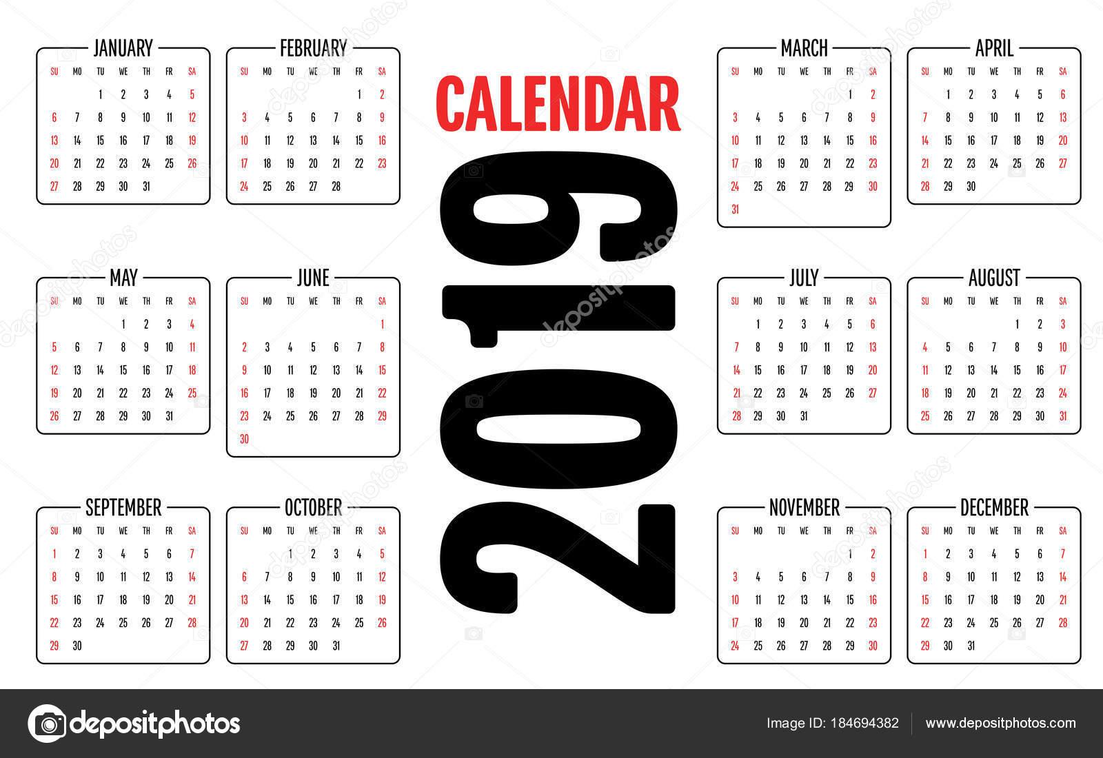 2019 Takvim Tasarım şablonu Vektör çizim Haftasını Pazar Başlatmak