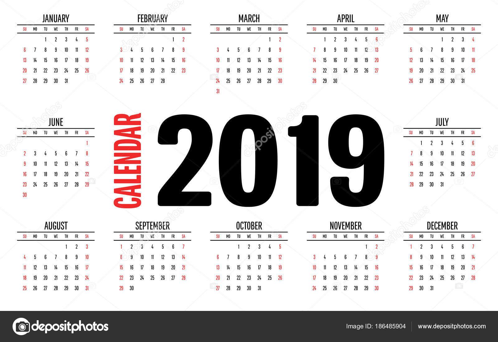 Kalendervorlage Planer 2019 Alle Monate Woche Beginnt Sonntag Und ...