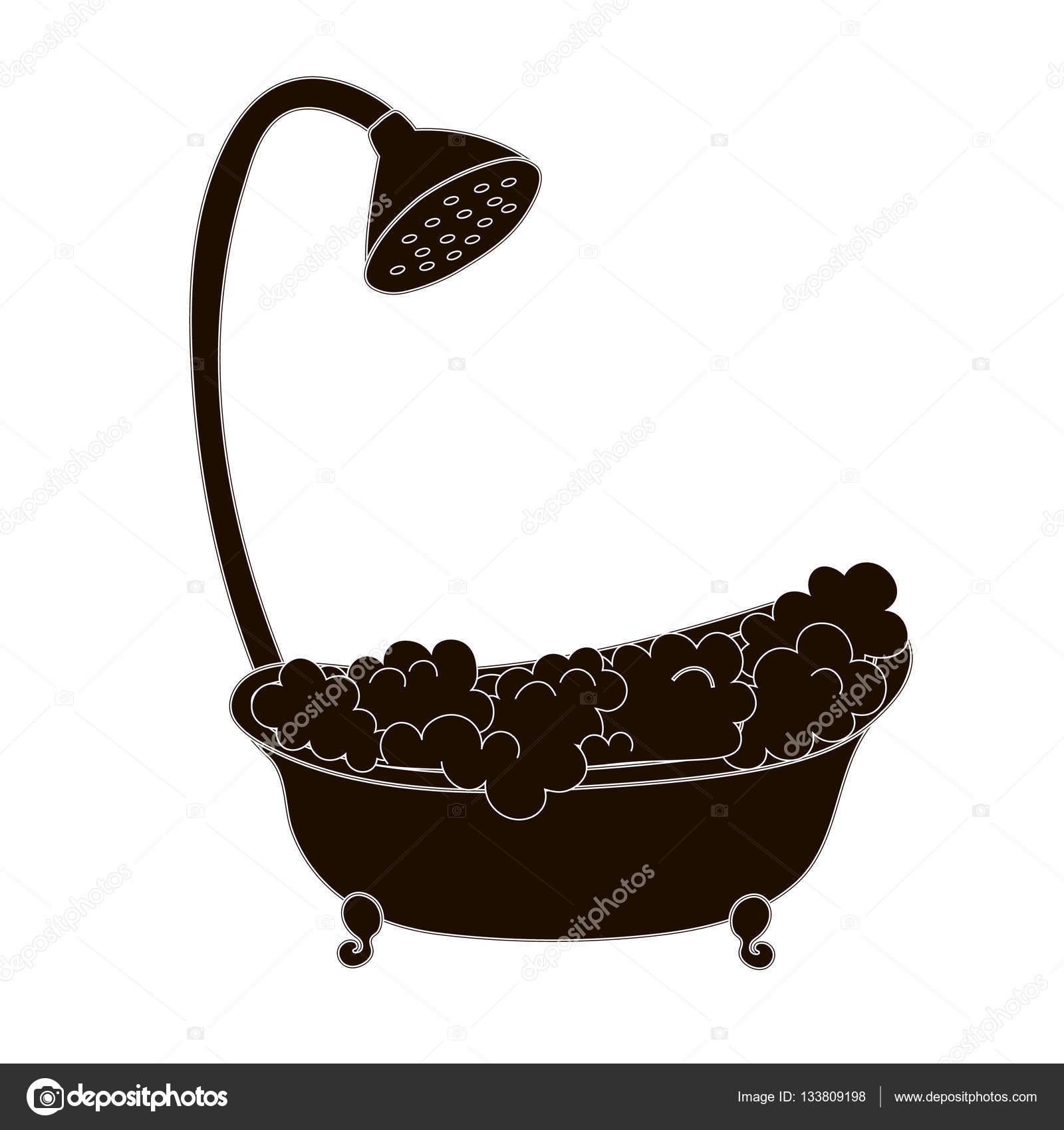 Clawfoot Tub Silhouette Vintage Claw Foot Bathtub With Foam And Bubbles Nice Illustration Of Taking A Shower Black Silhouette Stock Vector C Konevaelvira Gmail Com 133809198