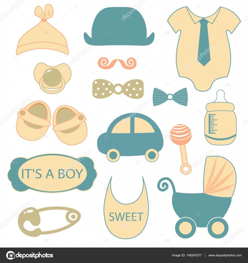 baby boy shower accessories Little man set vintage effect cream
