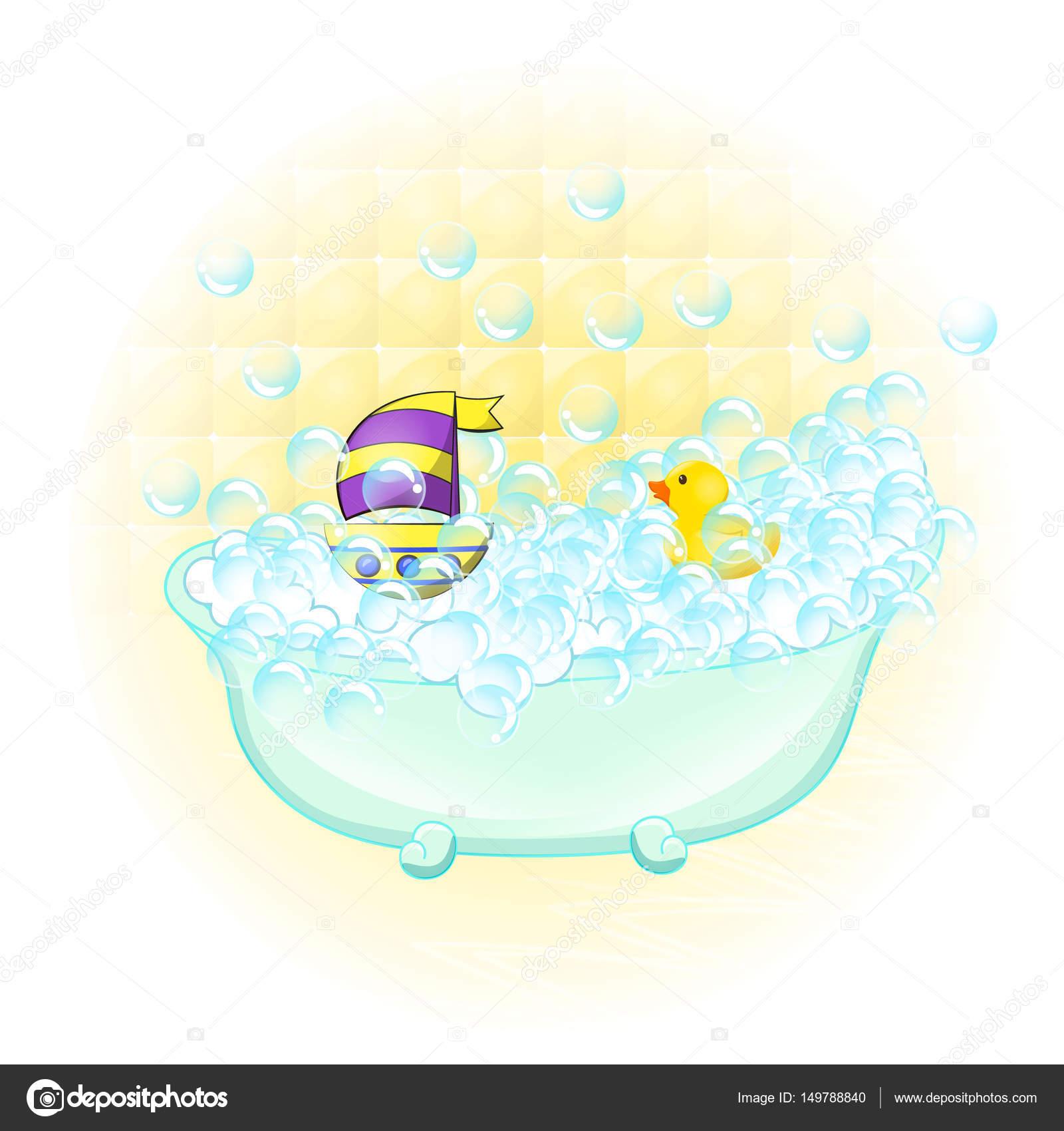 Retro Bathroom interior. soap bubbles. Bathtub with foam bubbles ...