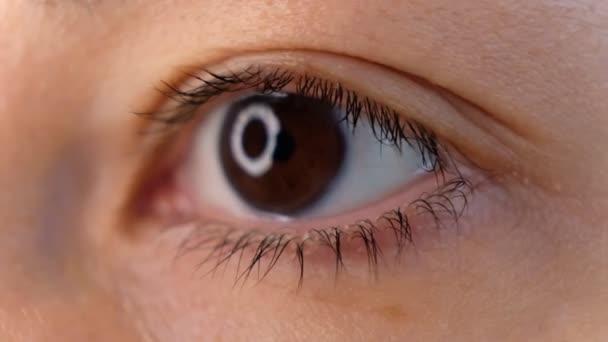 Nahaufnahme schöne asiatische Frau Augenöffnung Blick auf Kamera gesunde Sehkraft weibliche Schönheit ethnische Frau.