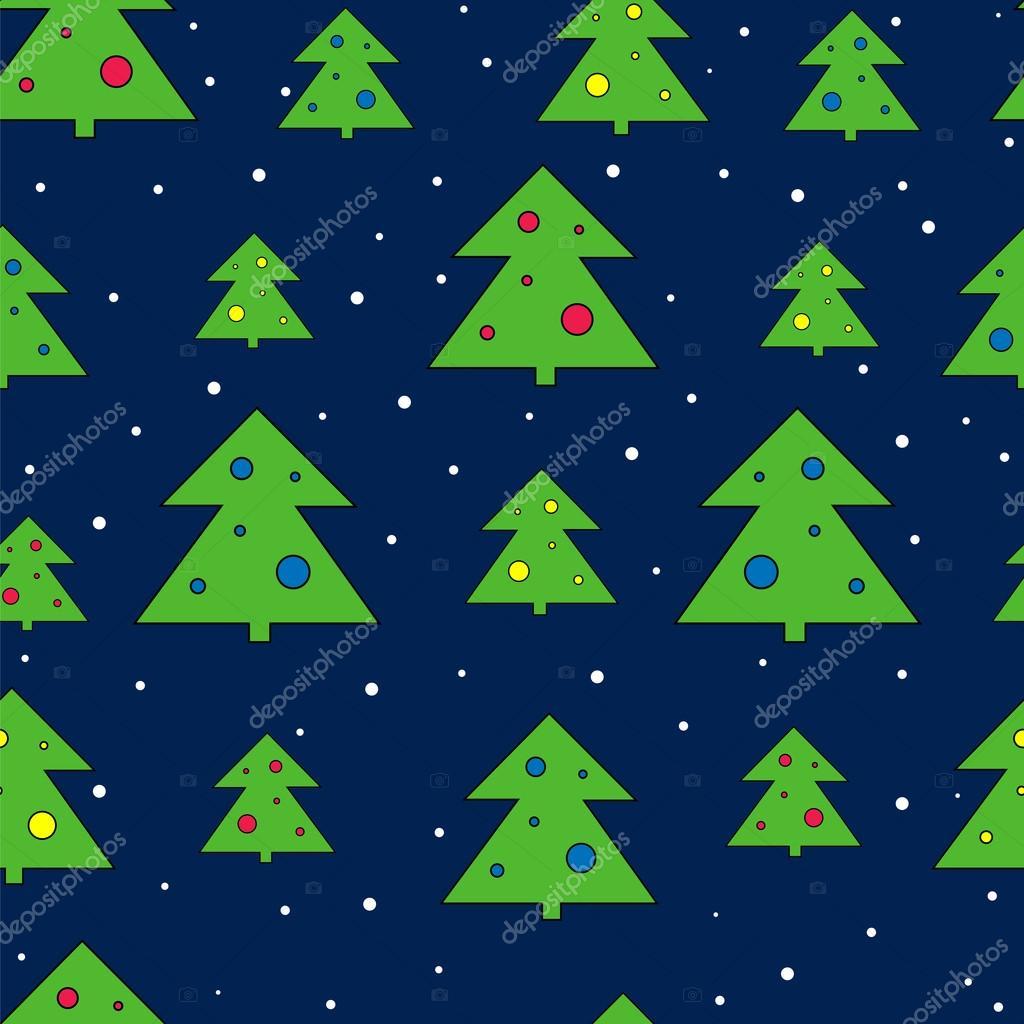 Árbol de Navidad y nieve vector patrón. Vacaciones de Navidad ...