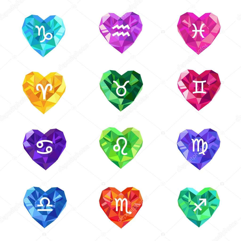 Set of crystal jewel heart shaped astrological zodiac signs symbols