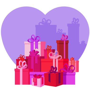 Flat mountain gifts boxes illustration