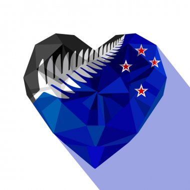 Crysta jewelry New Zealand's heart with the flag of New Zealand, silver fern.