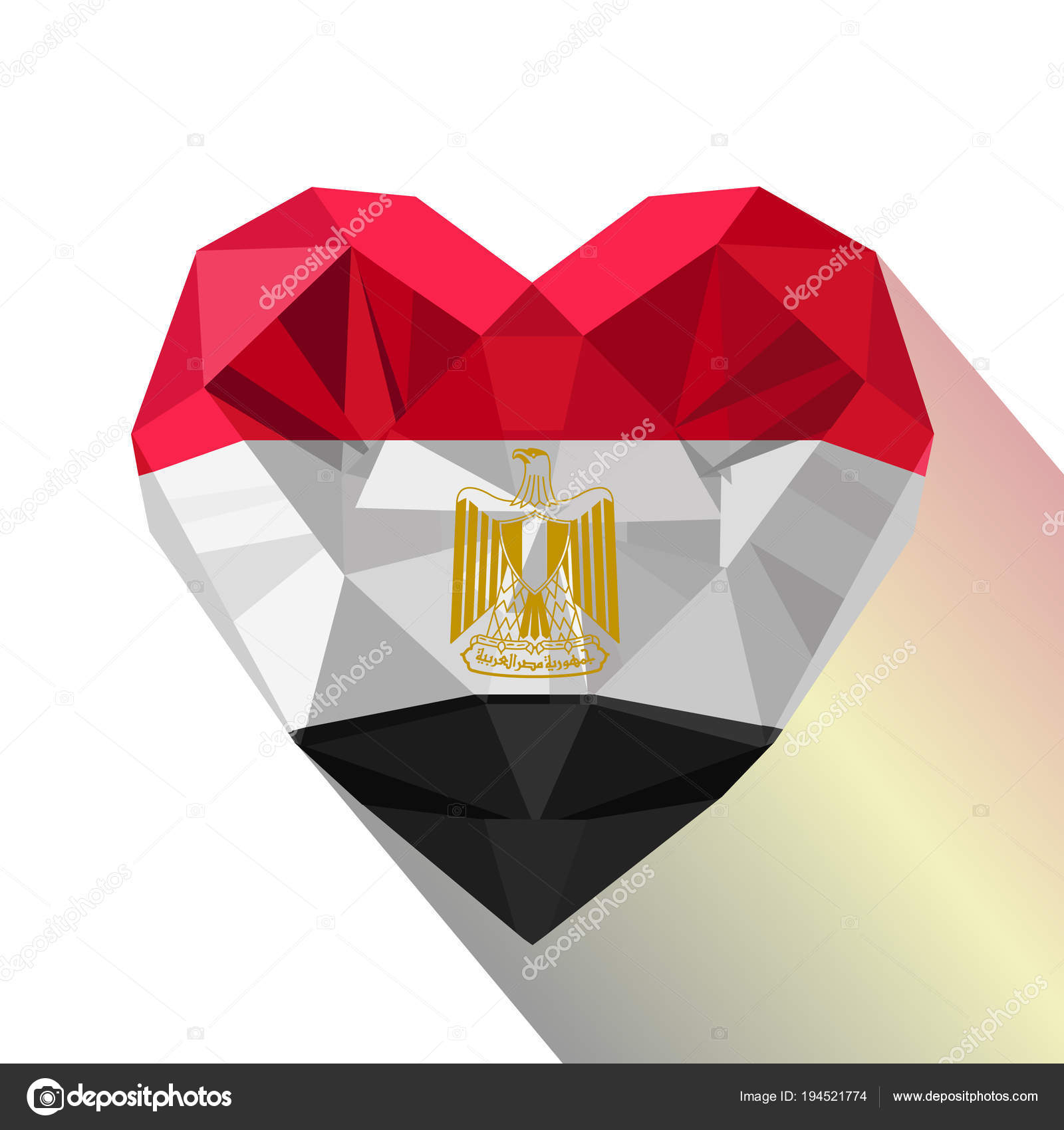 Vector Crystal Gem Egyptian Heart With The Flag Of The Arab Republic