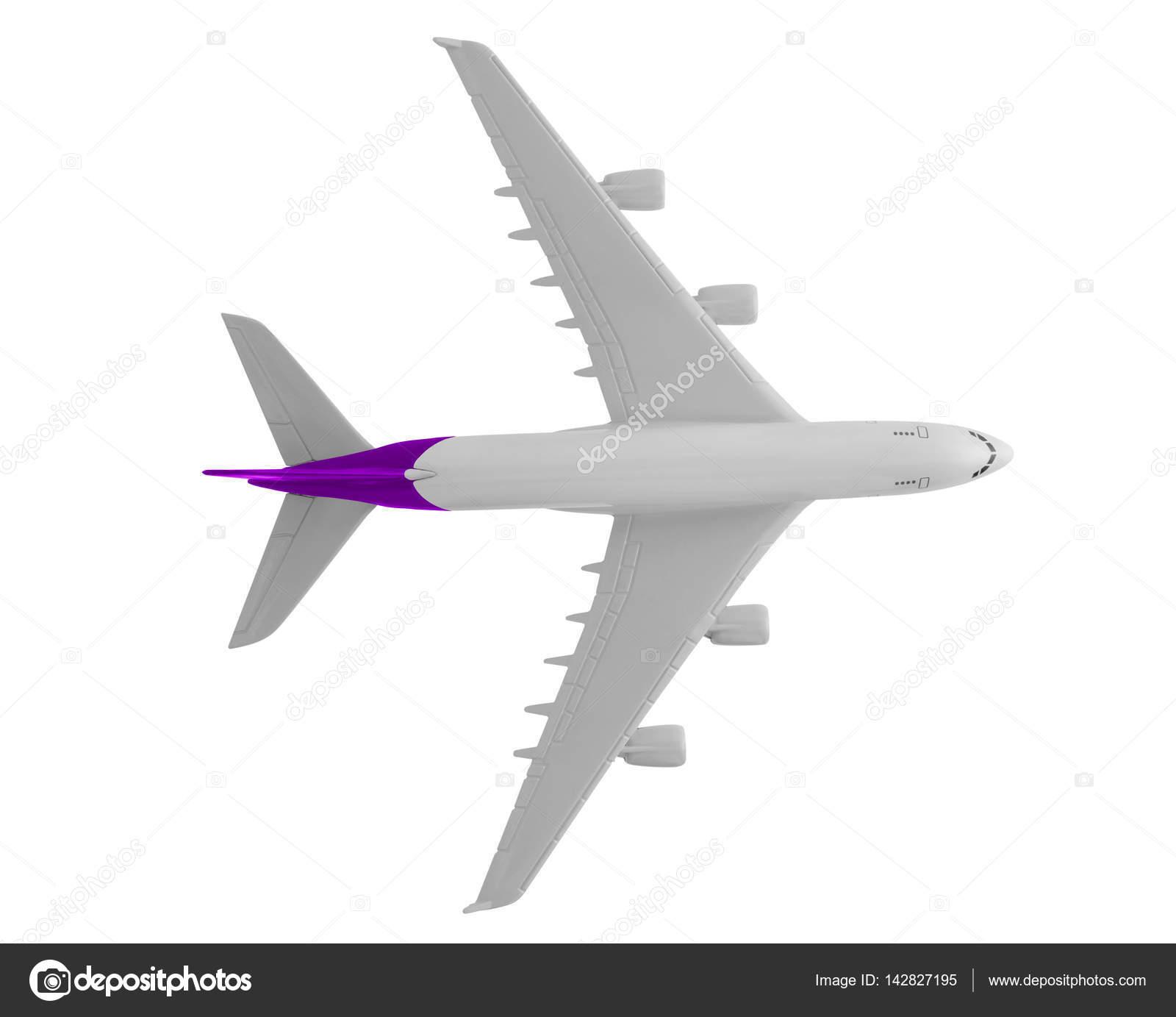 Avión con color púrpura, aislado sobre fondo blanco — Foto de stock ...