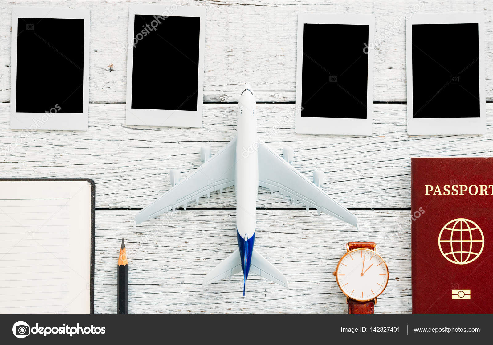 Preparation for Traveling concept, pencil, passport, airplane, watch ...