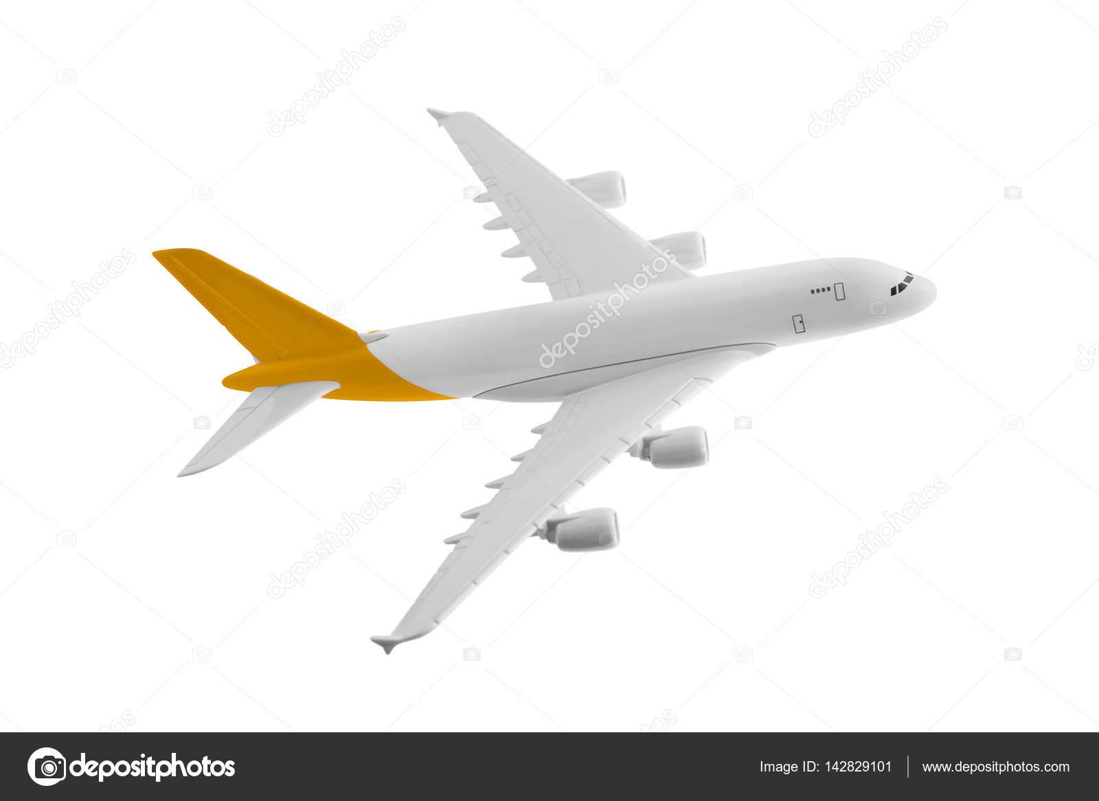 Avión con color amarillo, aislado sobre fondo blanco — Fotos de ...