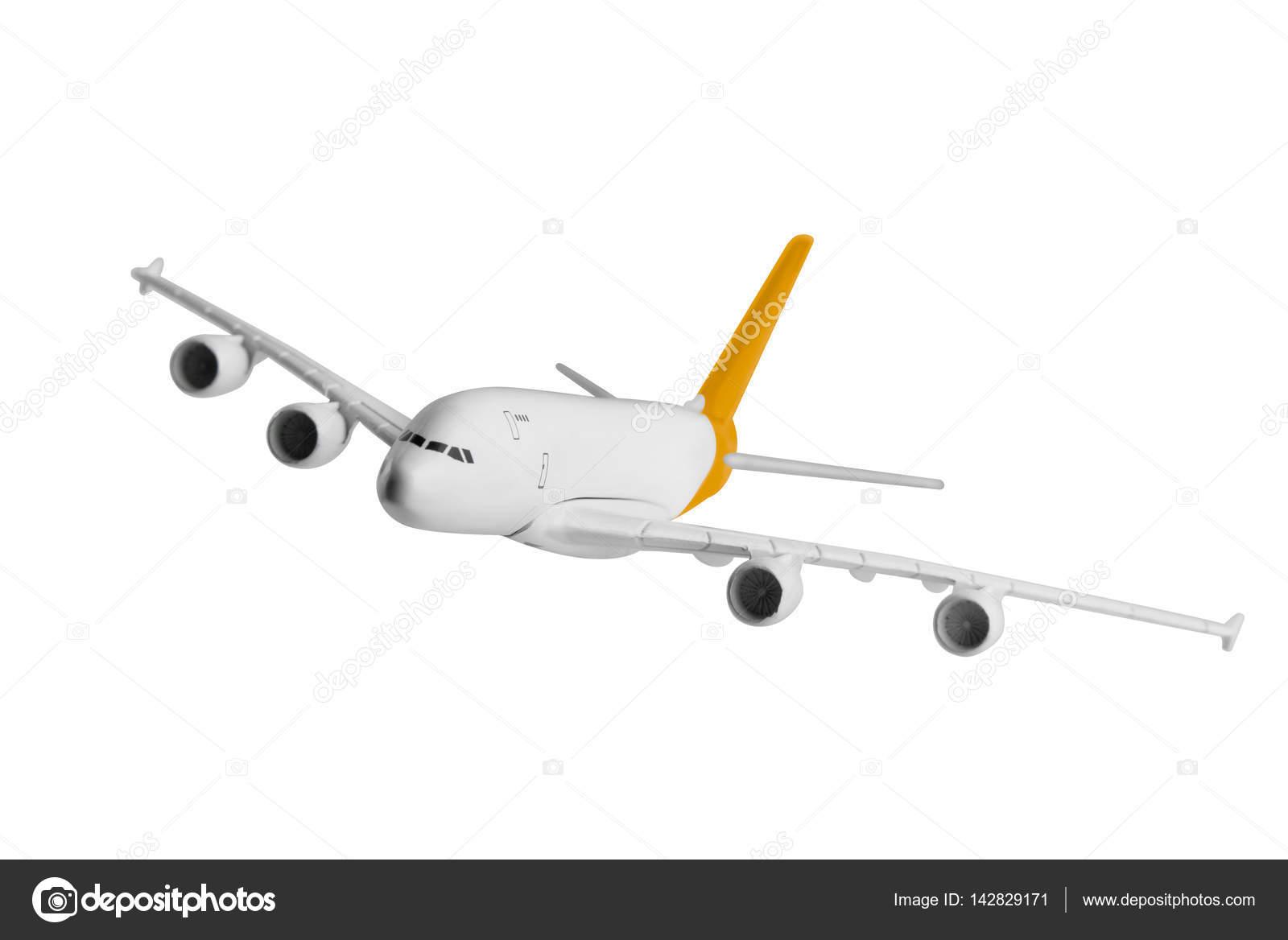 Avión con color amarillo, aislado sobre fondo blanco — Foto de stock ...