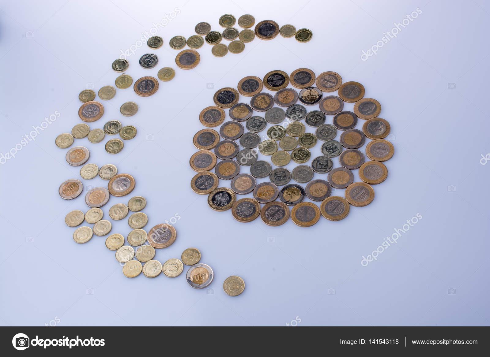 Türkische Lira Münzen Prägen Einen Halbmond Ein Kreis Stockfoto